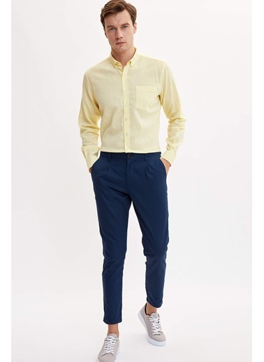 DeFacto Keten Modern Fit Gömlek Sarı
